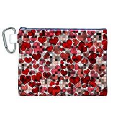 Hearts And Checks, Red Canvas Cosmetic Bag (XL)