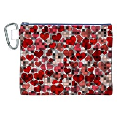 Hearts And Checks, Red Canvas Cosmetic Bag (XXL)