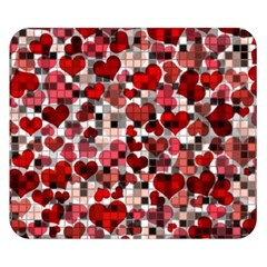 Hearts And Checks, Red Double Sided Flano Blanket (Small)
