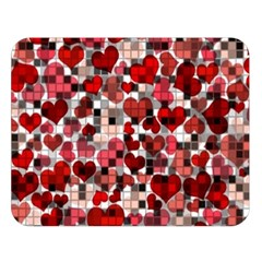Hearts And Checks, Red Double Sided Flano Blanket (Large)