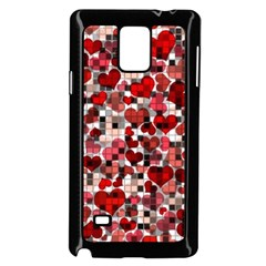 Hearts And Checks, Red Samsung Galaxy Note 4 Case (Black)