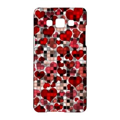 Hearts And Checks, Red Samsung Galaxy A5 Hardshell Case