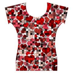 Hearts And Checks, Red Women s Cap Sleeve Top