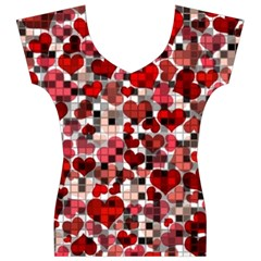 Hearts And Checks, Red Women s V-Neck Cap Sleeve Top