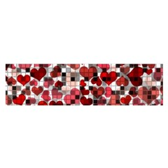 Hearts And Checks, Red Satin Scarf (Oblong)