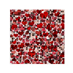Hearts And Checks, Red Small Satin Scarf (square)