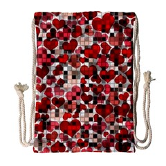 Hearts And Checks, Red Drawstring Bag (Large)