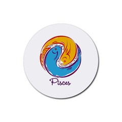 Pisces Star Sign Rubber Round Coaster (4 pack)