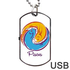 Pisces Star Sign Dog Tag Usb Flash (two Sides)