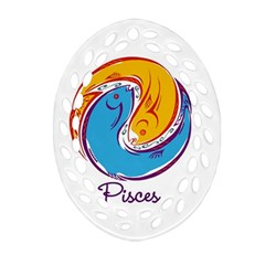 Pisces Star Sign Oval Filigree Ornament (2-Side)