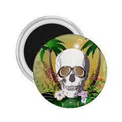 Funny Skull With Sunglasses And Palm 2.25  Magnets