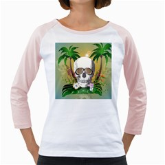 Funny Skull With Sunglasses And Palm Girly Raglans