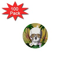Funny Skull With Sunglasses And Palm 1  Mini Buttons (100 pack)