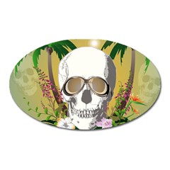 Funny Skull With Sunglasses And Palm Oval Magnet