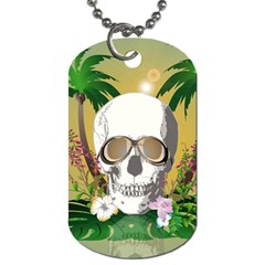 Funny Skull With Sunglasses And Palm Dog Tag (Two Sides)