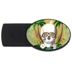 Funny Skull With Sunglasses And Palm Usb Flash Drive Oval (2 Gb)