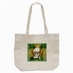 Funny Skull With Sunglasses And Palm Tote Bag (Cream)