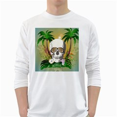 Funny Skull With Sunglasses And Palm White Long Sleeve T-Shirts