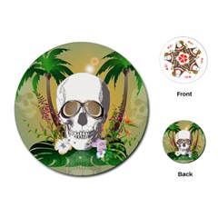 Funny Skull With Sunglasses And Palm Playing Cards (Round)