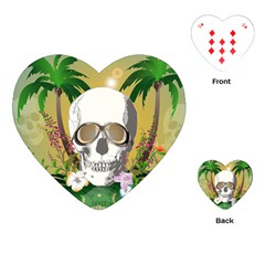 Funny Skull With Sunglasses And Palm Playing Cards (heart)
