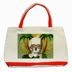 Funny Skull With Sunglasses And Palm Classic Tote Bag (red)