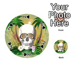 Funny Skull With Sunglasses And Palm Playing Cards 54 (Round)