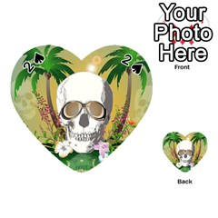 Funny Skull With Sunglasses And Palm Playing Cards 54 (Heart)