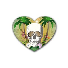 Funny Skull With Sunglasses And Palm Heart Coaster (4 Pack)