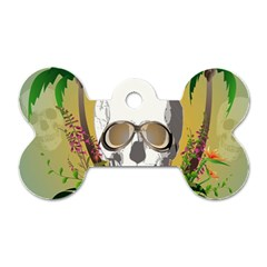 Funny Skull With Sunglasses And Palm Dog Tag Bone (One Side)