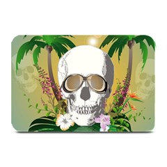Funny Skull With Sunglasses And Palm Plate Mats