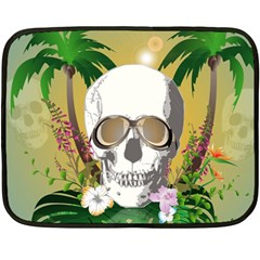 Funny Skull With Sunglasses And Palm Fleece Blanket (Mini)