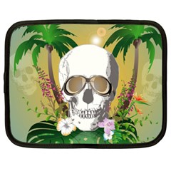 Funny Skull With Sunglasses And Palm Netbook Case (XXL)