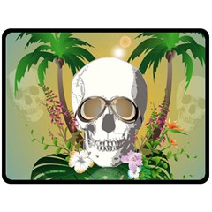 Funny Skull With Sunglasses And Palm Fleece Blanket (Large)