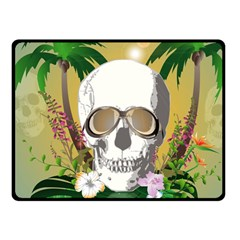 Funny Skull With Sunglasses And Palm Fleece Blanket (Small)