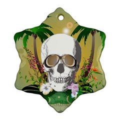 Funny Skull With Sunglasses And Palm Ornament (snowflake)