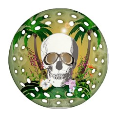 Funny Skull With Sunglasses And Palm Round Filigree Ornament (2Side)