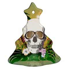 Funny Skull With Sunglasses And Palm Christmas Tree Ornament (2 Sides)