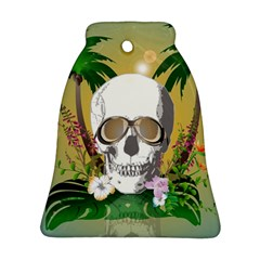 Funny Skull With Sunglasses And Palm Bell Ornament (2 Sides)