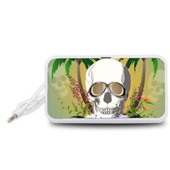 Funny Skull With Sunglasses And Palm Portable Speaker (White)