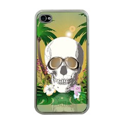 Funny Skull With Sunglasses And Palm Apple iPhone 4 Case (Clear)