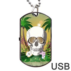 Funny Skull With Sunglasses And Palm Dog Tag Usb Flash (one Side)
