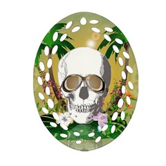 Funny Skull With Sunglasses And Palm Oval Filigree Ornament (2-Side)