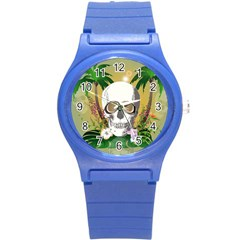 Funny Skull With Sunglasses And Palm Round Plastic Sport Watch (S)