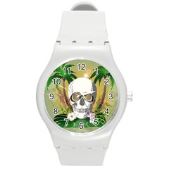 Funny Skull With Sunglasses And Palm Round Plastic Sport Watch (M)
