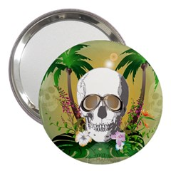 Funny Skull With Sunglasses And Palm 3  Handbag Mirrors