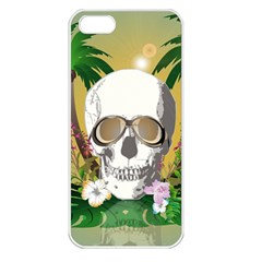 Funny Skull With Sunglasses And Palm Apple iPhone 5 Seamless Case (White)