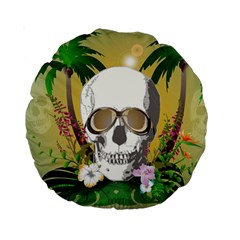 Funny Skull With Sunglasses And Palm Standard 15  Premium Round Cushions