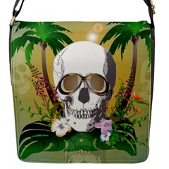 Funny Skull With Sunglasses And Palm Flap Messenger Bag (S)