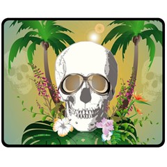 Funny Skull With Sunglasses And Palm Double Sided Fleece Blanket (Medium)