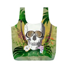 Funny Skull With Sunglasses And Palm Full Print Recycle Bags (m)